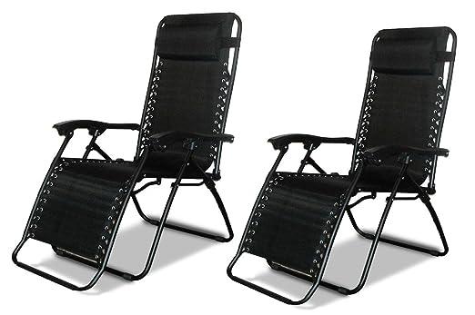 Denny International® Textoline - Silla reclinable de jardín, tumbona de playa reclinable, sillas en color negro resistentes al agua., negro