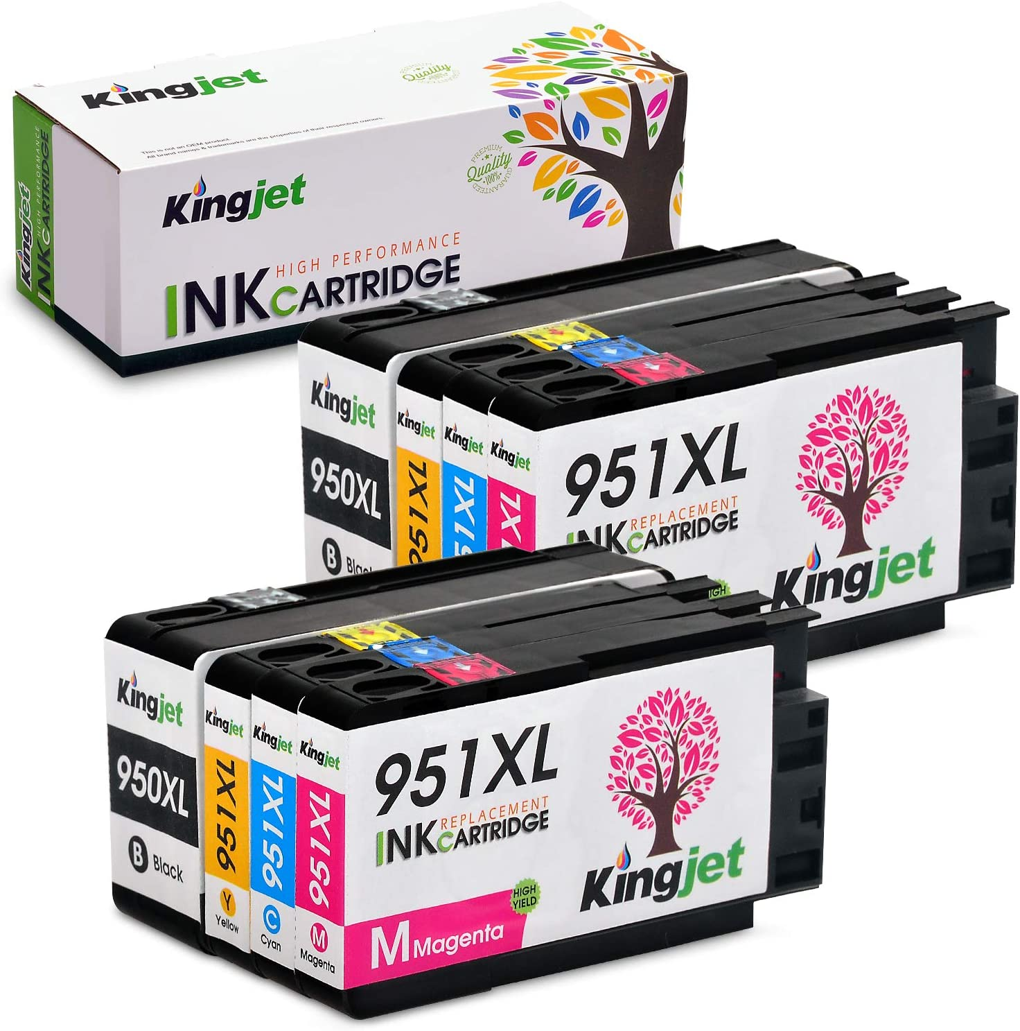 Kingjet Compatible Replacements for 950 951, 950XL 951XL Ink Cartridges Work with Officejet Pro 8100 8600 8610 8620 Printers, 2 Sets (2BK 2C 2M 2Y)