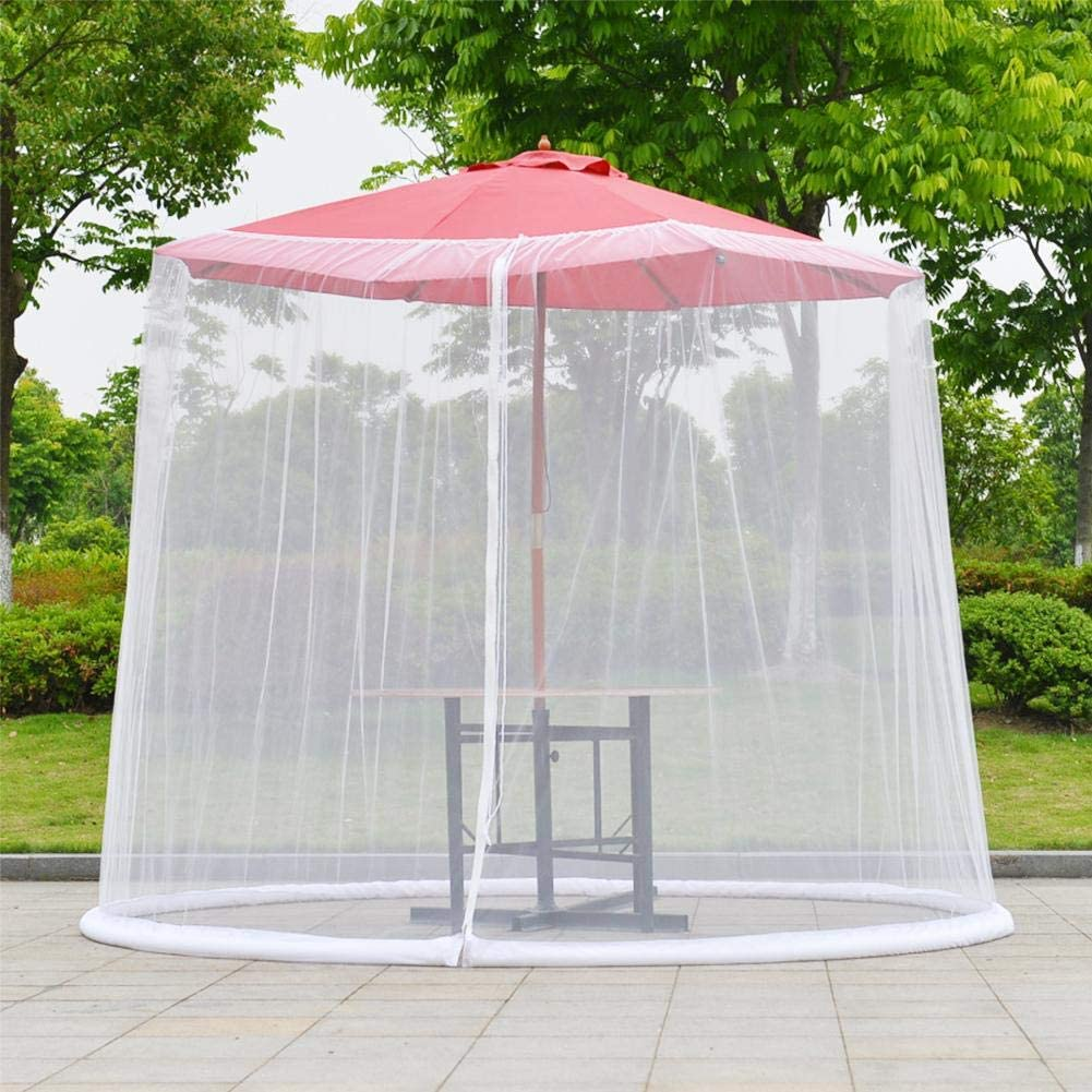 Muebles de terraza de jard/ín Cubierta de Malla de Cremallera Cubierta Hook.s Malla de Malla de mosquitera para sombrilla de Mesa de Patio