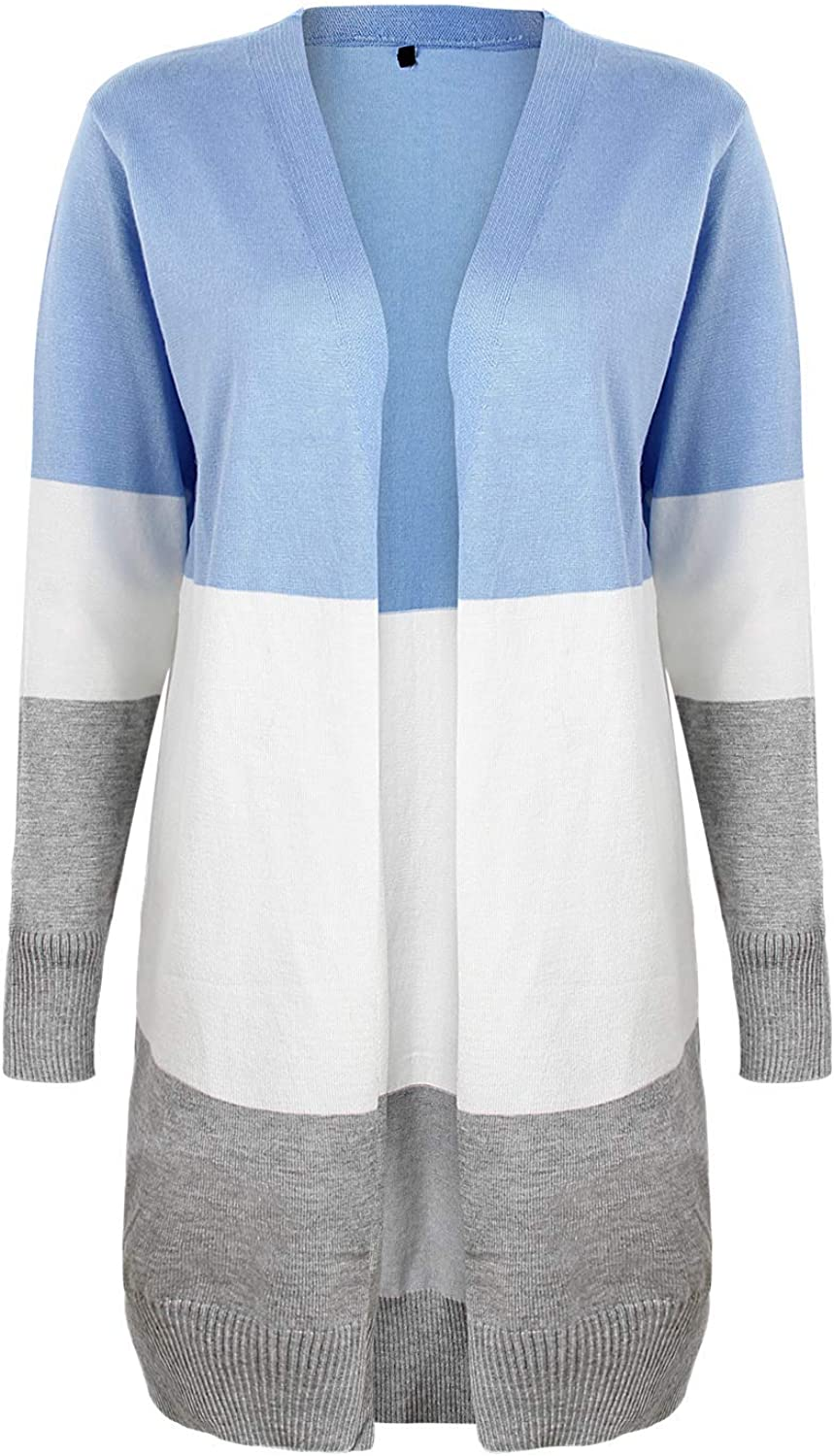 INIBUD Cardigan Sweaters for Women Open Front Long Sleeve Sweater Tops with Pockets