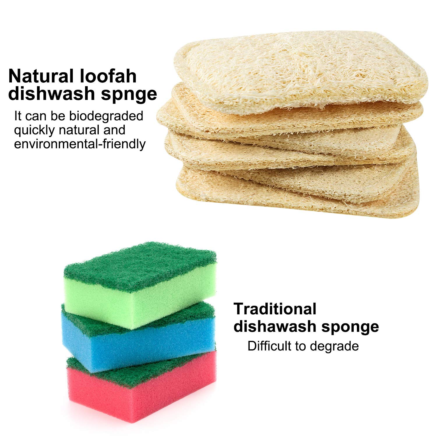 Qkurt Natural Loofah Sponge Scourers 4pcs Pack of Rectangular Shaped Bowl Dish Scrub Dish Washing Sponges for Kitchen Cup Bowl Dish Table Washing