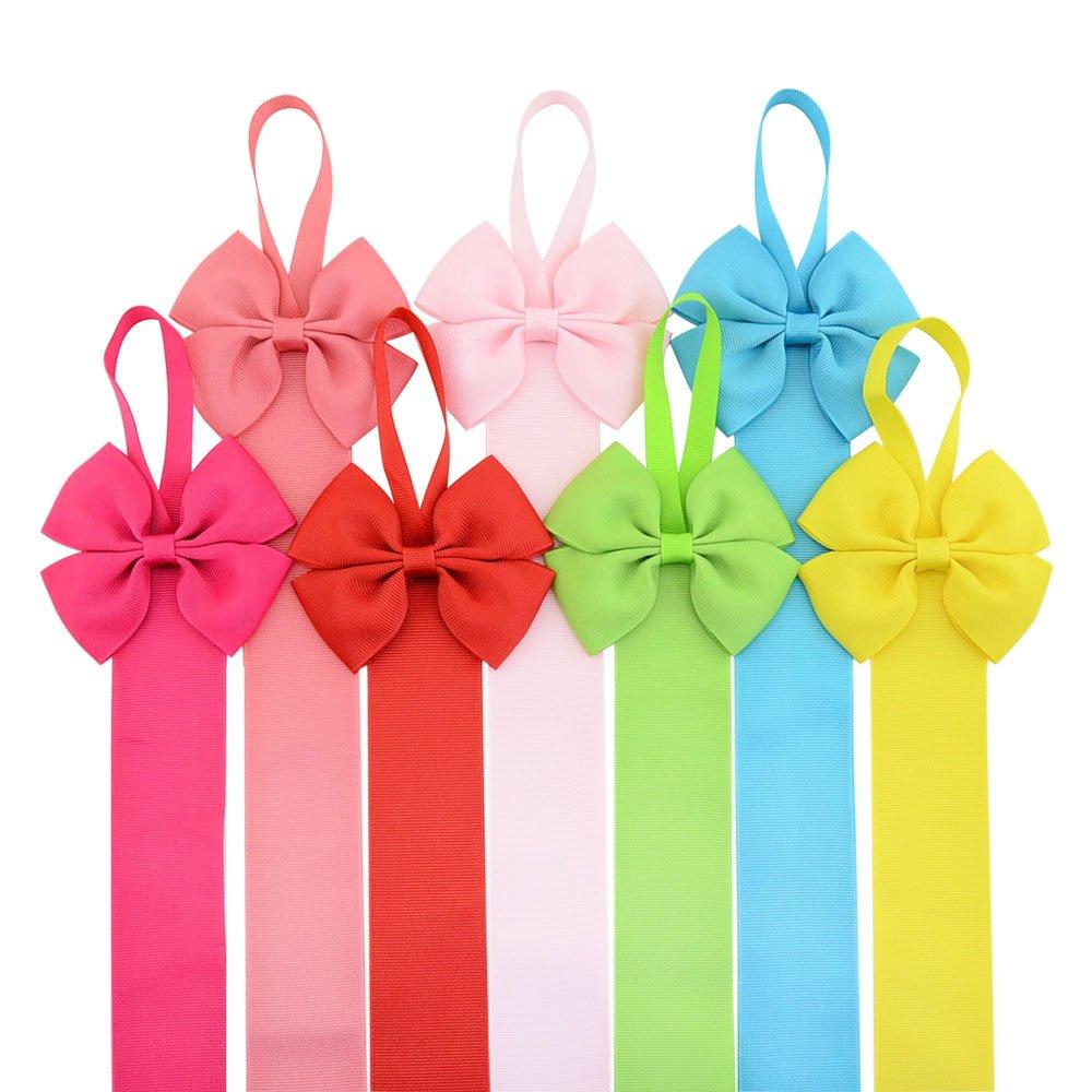 12PCS Kids Girl Hair Bow Grosgrain Ribbon Baby Hair Clip Hanging Holder Storage Holder Organizer Gift For Bow Clip
