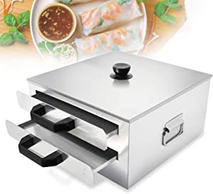 Eapmic Rice Noodle Roll Steamer, 2 Layer Stainless Steel Rice Roll Maker Changfen Vermicelli Steamer Machine Food Steamer Drawer for Commercial Home Use