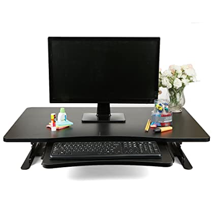 Mind Reader SDPATENT BLK Home Office Standing Desk With Keyboard Storage,  Black