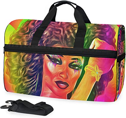 FANTAZIO African Women Painting Sports Duffle Bag Gym Bag Travel Duffel with Adjustable Strap
