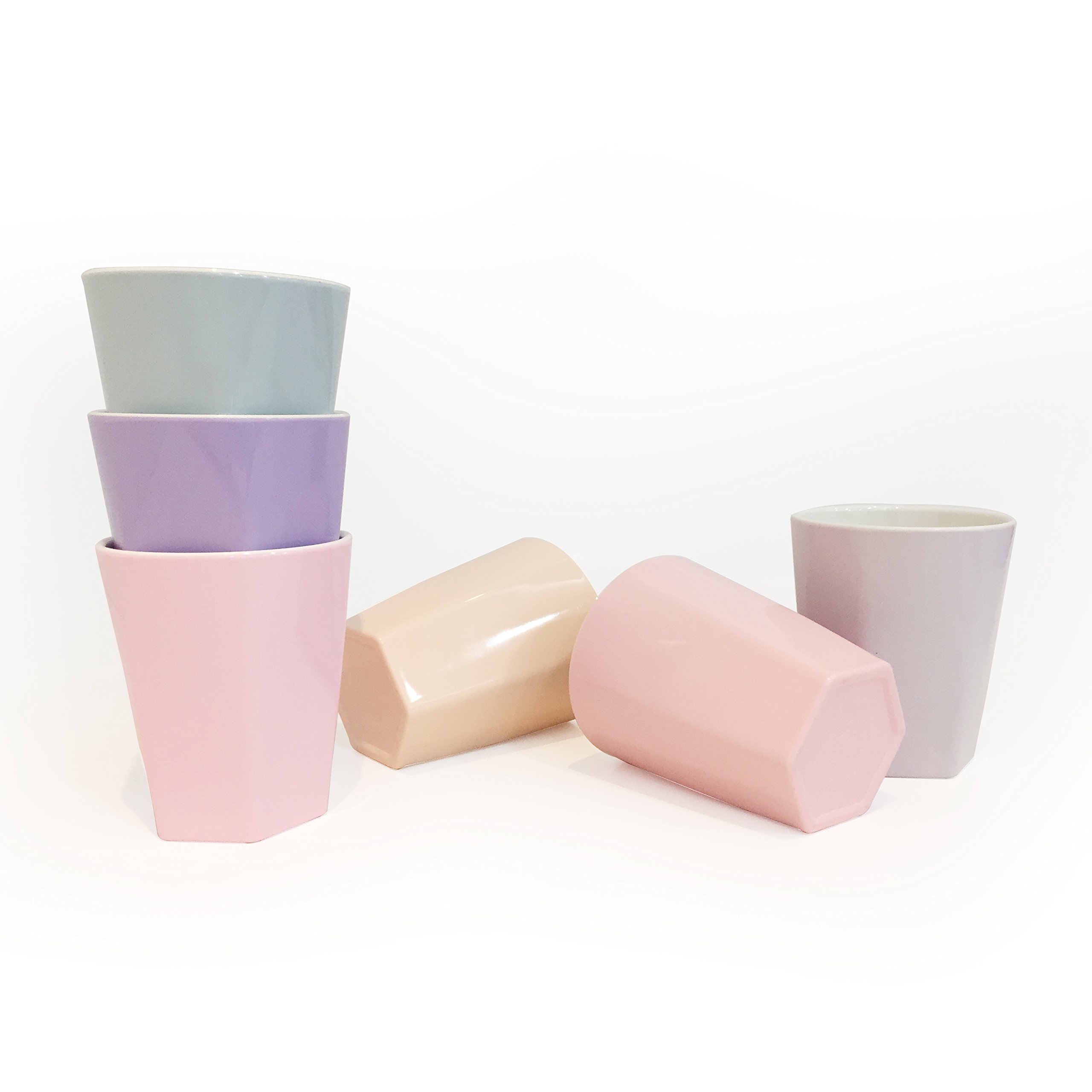 TP up! Lovely Reusable Hard Plastic Melamine Party Cups Mugs Tumblers for Children, BPA-Free&Easy Clean, Set of 6, 6.8oz