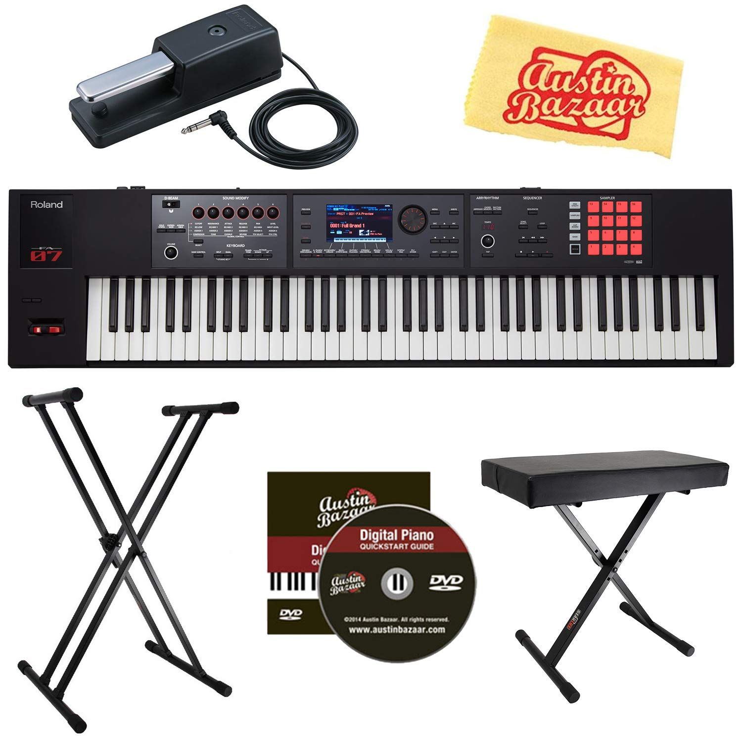 Roland FA-07 76-Note Music Workstation Bundle with Roland DP-10 Damper Pedal, Adjustable Stand, Bench, Austin Bazaar Instructional DVD, and Polishing Cloth by Roland