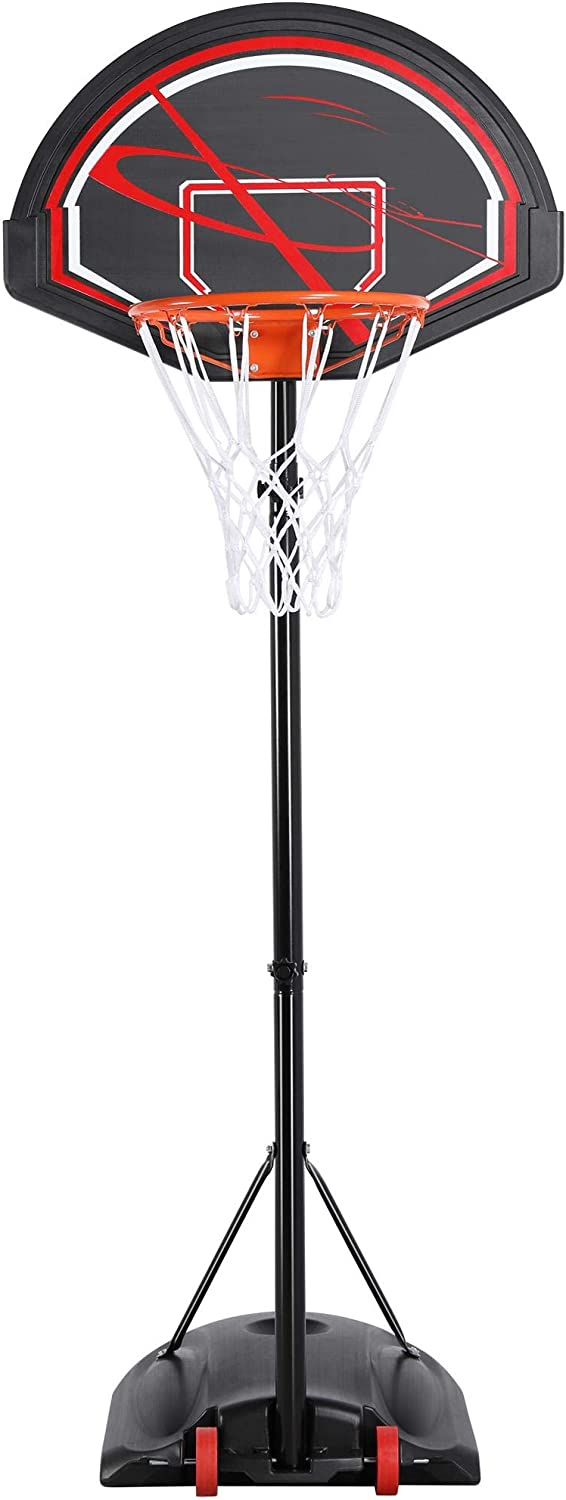 YAHEETECH Portable 32 Youth Polyethylene Backboard Basketball System 7-9ft Height Adjustable Perfect for Kids Teenagers Indoor//Outside w//Sturdy Rim /& Wheels