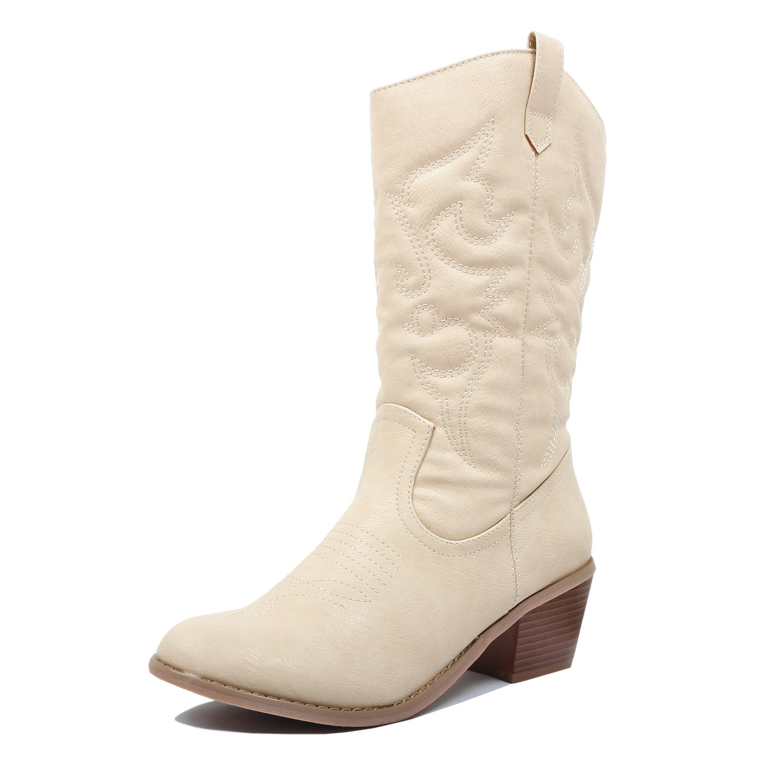 West Blvd Miami Cowboy Western Boots Boots, Beige Pu, 10 (B) M US by West Blvd (Image #2)