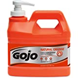 GOJO NATURAL ORANGE Pumice Industrial Hand Cleaner, 1/2 Gallon Quick Acting Lotion Hand Cleaner with Pumice Pump Bottle…