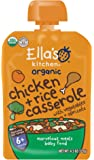 Ella's Kitchen Organic 6+ Months Baby Food, Chicken Casserole with Vegetables and Rice, 4.5 oz. Pouch (Pack of 6)