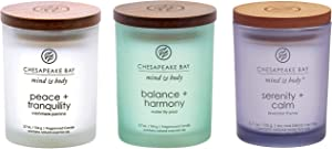 Chesapeake Bay Candle Peace + Tranquility, Balance + Harmony, Serenity + Calm Scented Candle Gift Set, Small Jar (3-Pack), Assorted