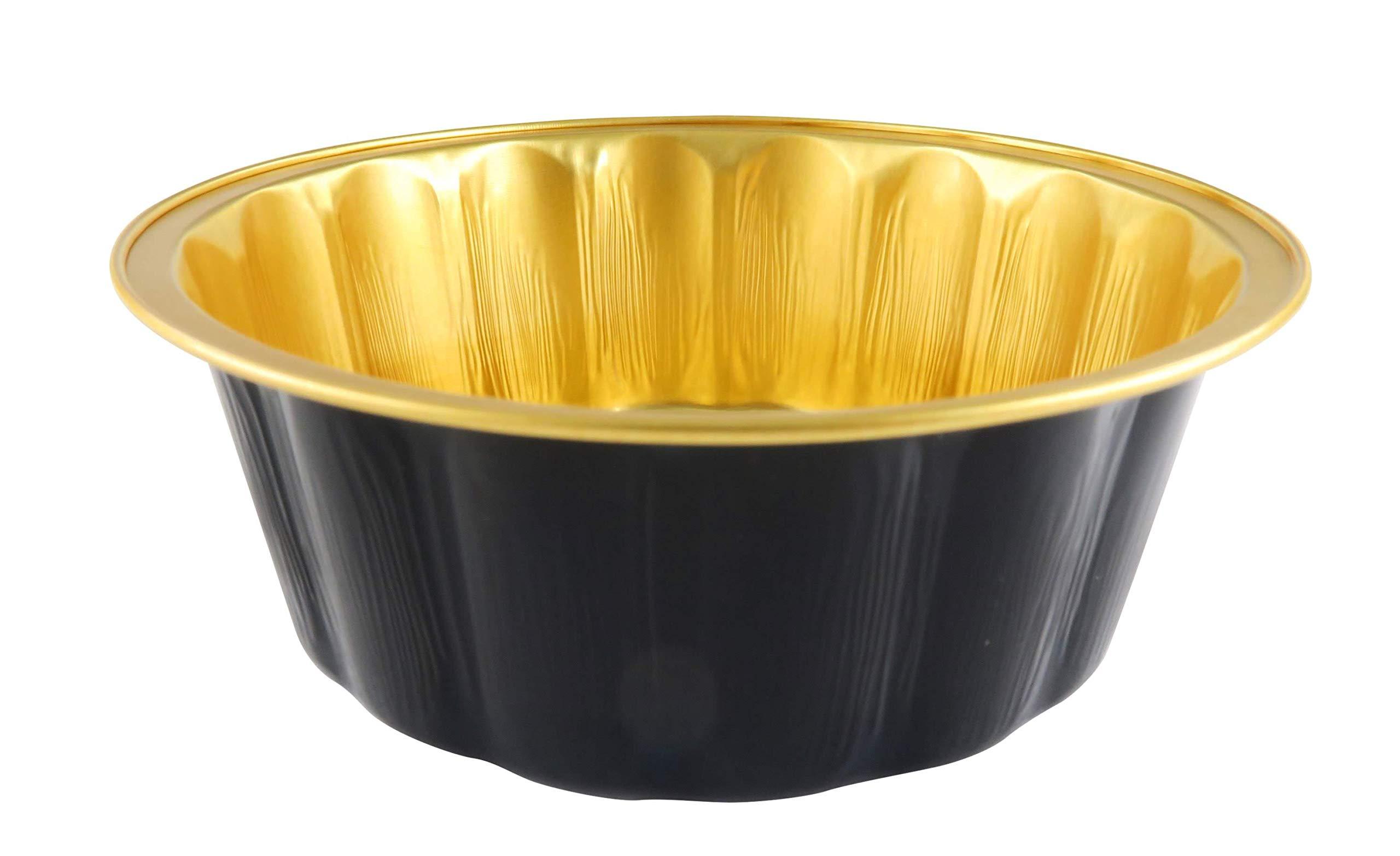 KitchenDance Disposable Colored Aluminum 8 oz. Individual Cake Cups- Tart Pans-Dessert Pans. Color and Lid Options #A8 (100, Black & Gold Without Lids)