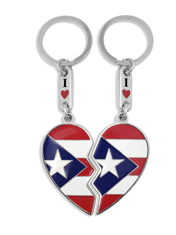 flagsandsouvenirs Puerto Rico Flag Heart Keychain Bandera de Puerto Rico Corazon llavero