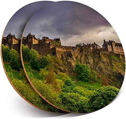 Destination Vinyl ltd Lot de 2 Dessous de Verre Ronds avec Inscription Glencoe Mountains Highlands Scotland Brillant Protection de Table pour Tout Type de Table #16116