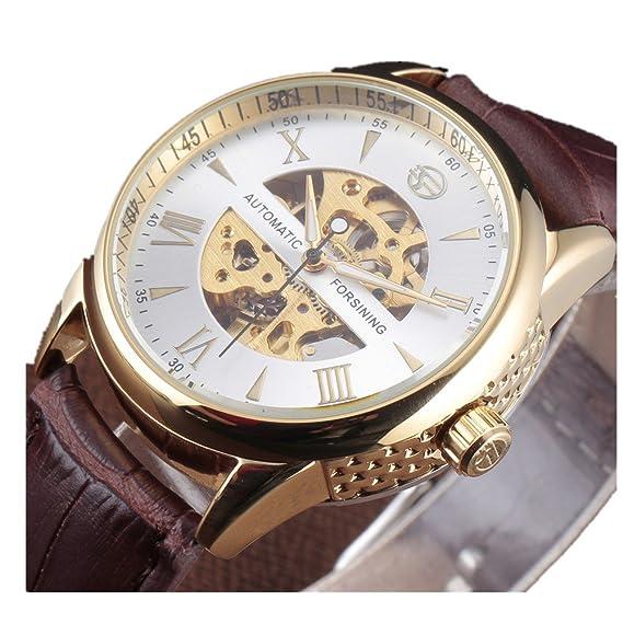 Forsining Hombres Clásico Esqueleto de acero inoxidable reloj mecánico