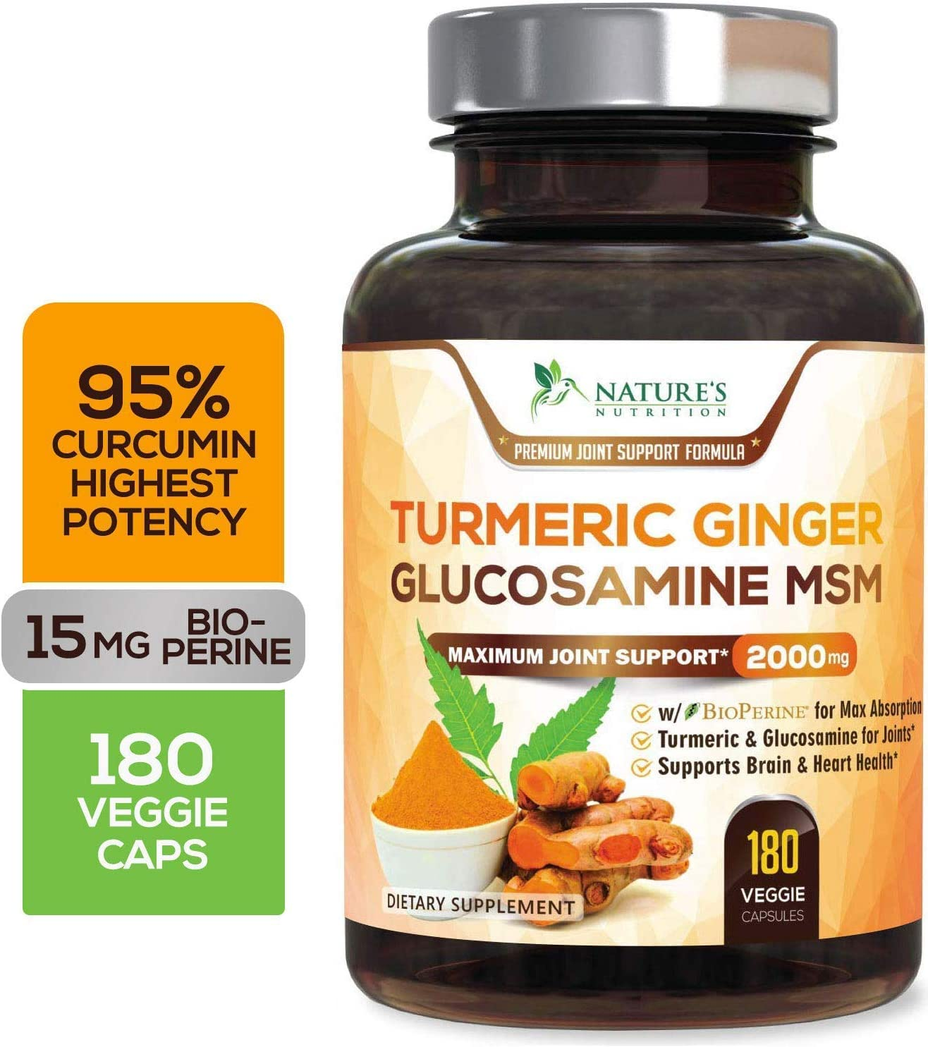 Turmeric Curcumin with Ginger, Glucosamine & MSM 2000mg 95% Curcuminoids, BioPerine for Best Absorption, Best Joint Support, Made in USA, Turmeric Pills by Natures Nutrition - 180 Capsules