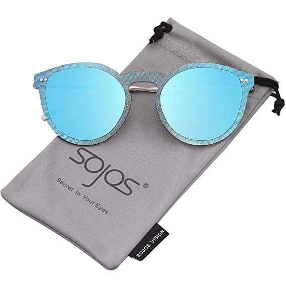 da80d861c4 SojoS Rimeless Round Metal Frame Sunglasses Flat Mirrored Lens Glasses  SJ1074 With Silver Frame Blue Mirrored Lens  Amazon.ca  Clothing    Accessories