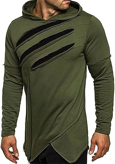 0b49281e FCYOSO Men's Long Sleeves Creed Assassin Ripped Asymmetrical Hoodie Shirt  at Amazon Men's Clothing store: