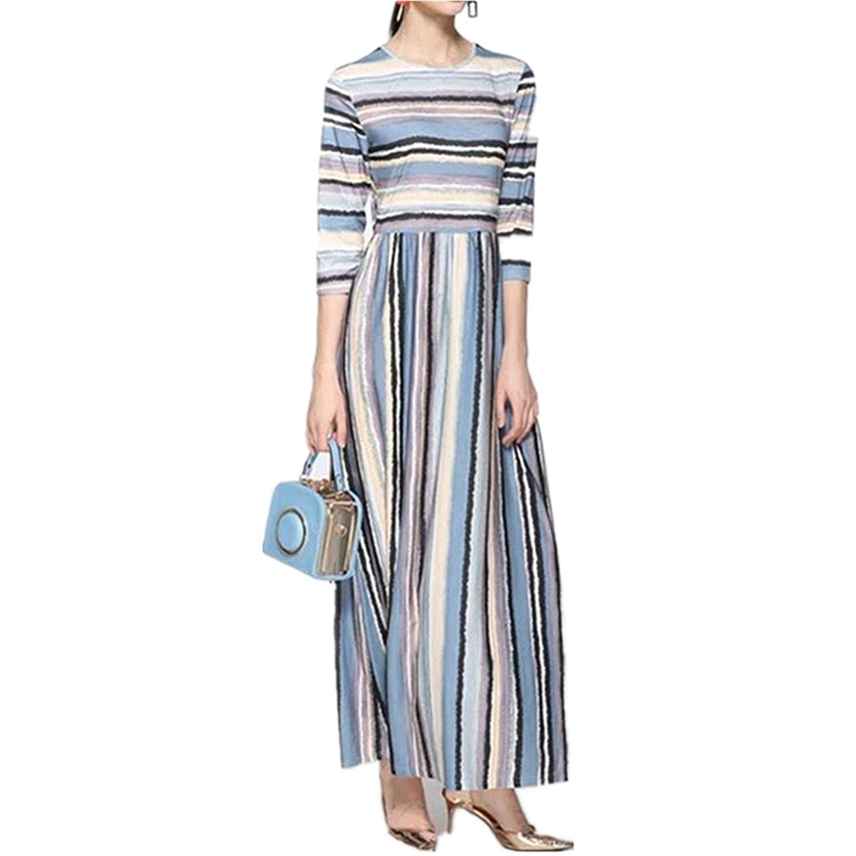 color Stripes1 Titanos Women's Casual Maxi Dress 3 4 Sleeve Dress Loose Waist Striped Dress
