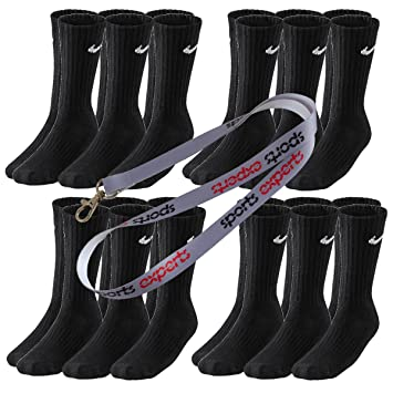 aliexpress wholesale dealer outlet 12 Paar NIKE Socken in Größen 34-38 bis 46-50 schwarz & weiß (Schwarz,  38-42 (M))