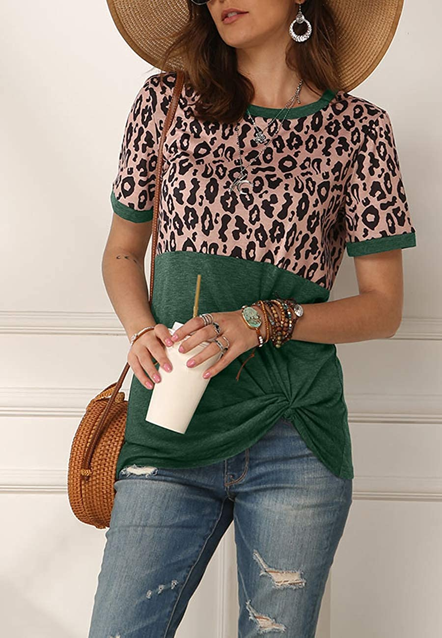 MIROL Womens Short Sleeve Shirts Leopard Print Spliced Twisted Hem Color Block Tunic Tee Tops Casual Basic Blouse