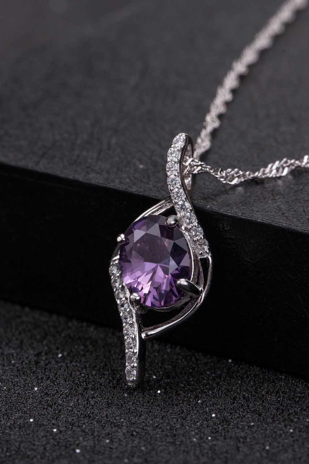 Thai Love Your Unique Amethyst Necklace Pendant Women Girls Chain Clavicle Short s925 Silver Accessories Women Gift Gift by PAGIPEN