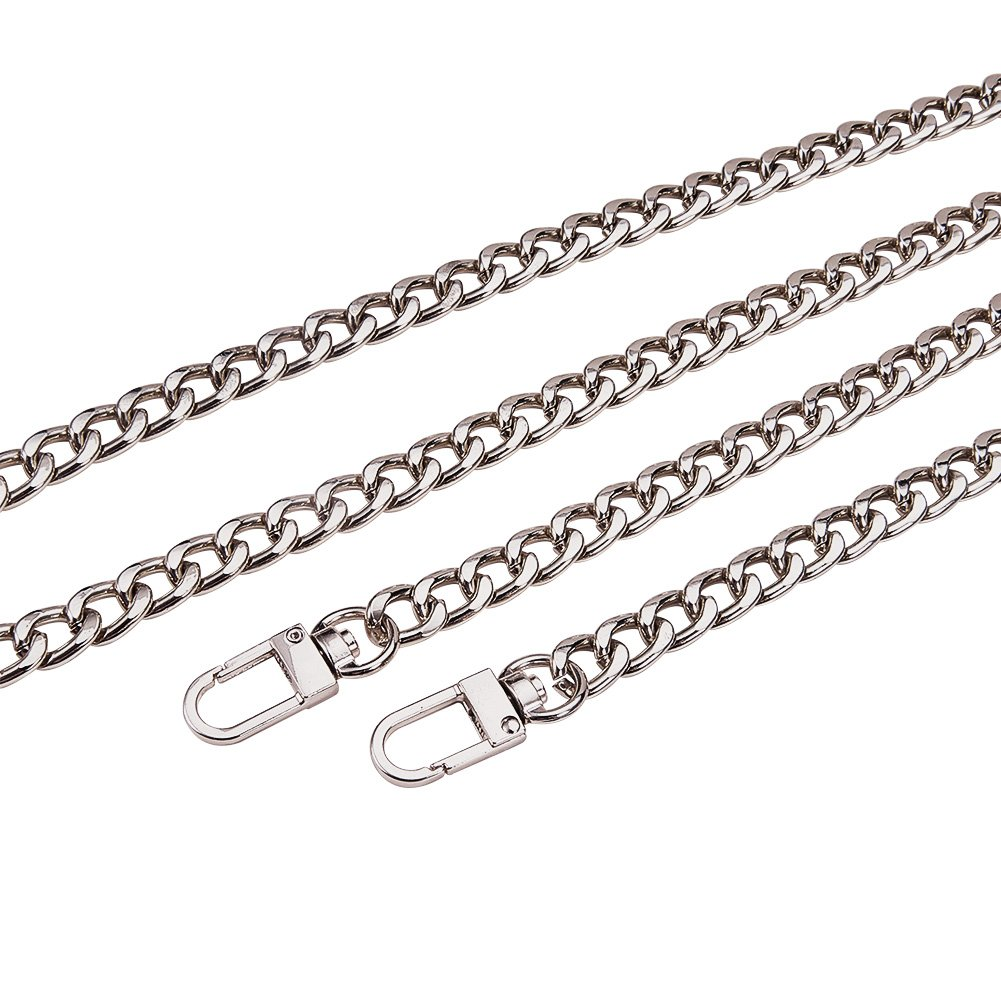 PandaHall Elite 5 Stands 29cm 10mm Width DIY Iron Handbag Chains Curb Chain Strap Replacement Accessories with Swivel Lobster Claw Clasps for Wallet Clutch Satchel Tote Bag