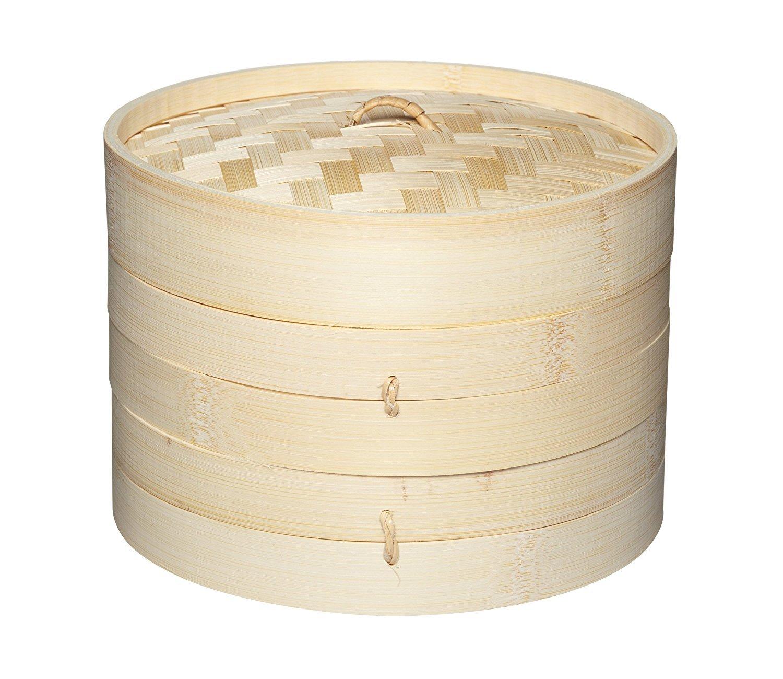 Vapeur en bambou Panier vapeur by TRENDINGTEMPLE Cuisson rapide et efficace pour sant/é et saveur 2 niveaux et 1 couvercle 20 Cm