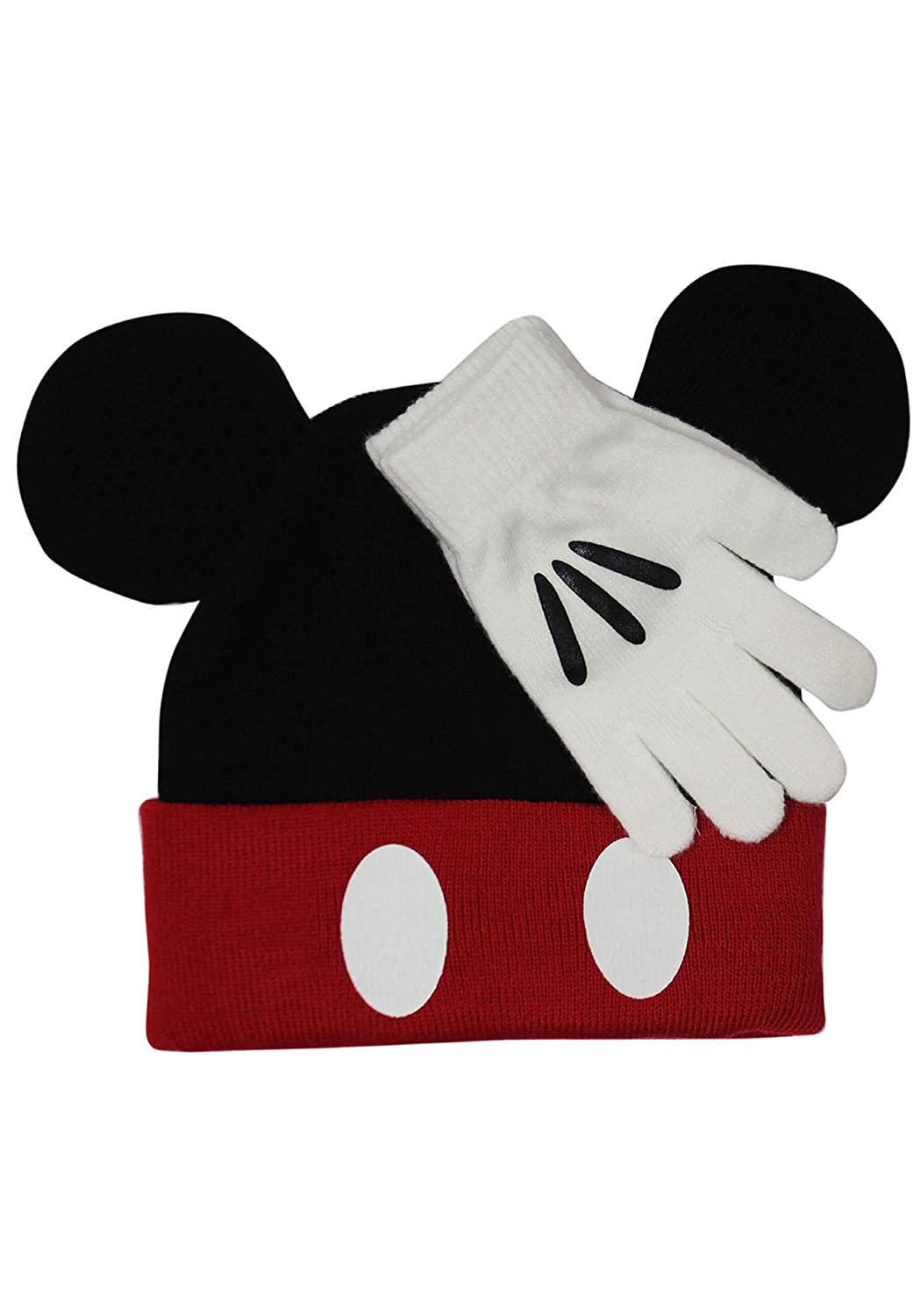 Concept One Accessories Mickey Mouse Knit Cuff Beanie w/Gloves Set Black/red One Size Disney ECCL3381AZ-006