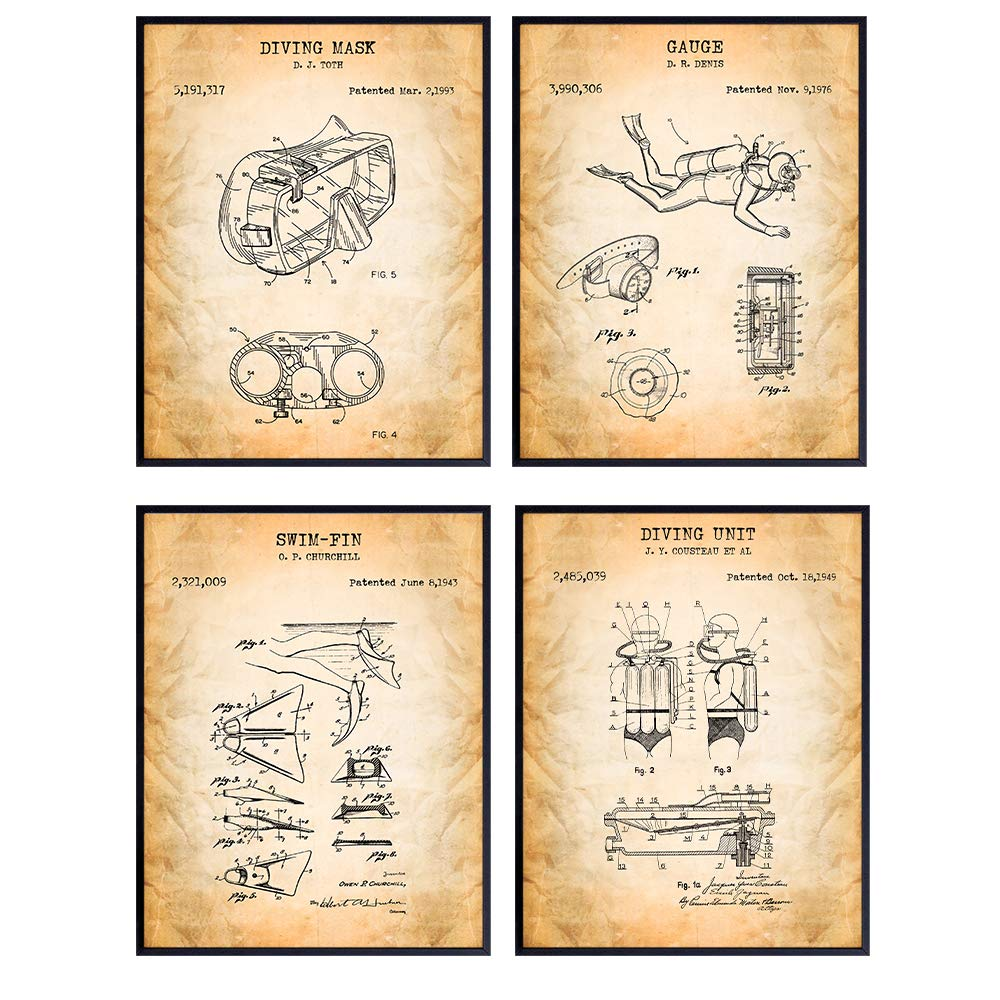 Scuba Patent Art Prints - Vintage Diving Equipment Wall Art Poster Set - Chic Rustic Home Decor for Game Room, Man Cave, Beach House, Living Room, Office, Bedroom, Gift for Divers, 8x10 Photo Unframed