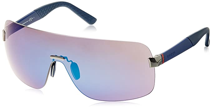 0c91df448b6 Image Unavailable. Image not available for. Colour  Gucci Mirrored Wrap-Around  Unisex Sunglasses ...