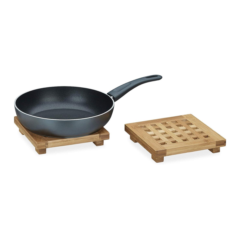 Compra Relaxdays - Posavasos Plato Cuadrado bambú, Salvamanteles de Madera para ollas, sartenes, (2 Unidades, se Puede Limpiar con Agua, HBT Aprox.