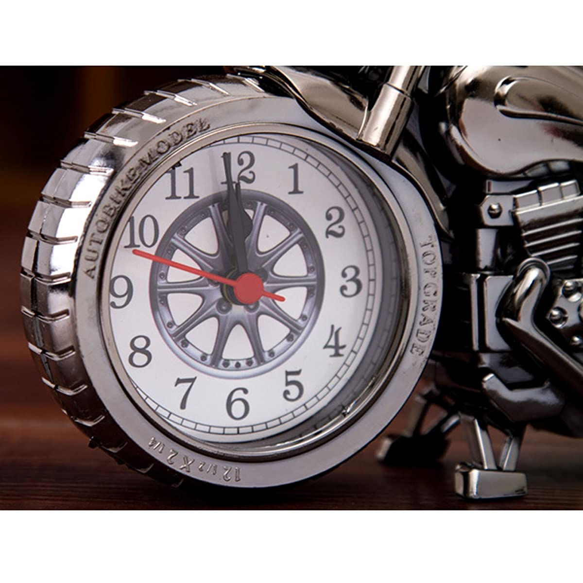 Vintage Retro Motorcycle Style Students Alarm Clock Table Desk Time Clock Cool Motorbike Model Home Office Shelf Decoration Novelty Birthday Holiday Children Adults Boys Gift Brown