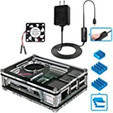 Miuzei Raspberry Pi 3 B+ Case with Fan Cooling and 3× Heat-Sinks, 5V 2.5A Power Supply with On/Off Switch Cable for RPi 3 B+, 3B, 2b