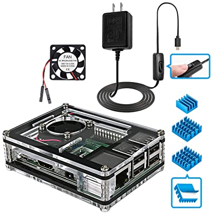 Miuzei Raspberry Pi 3 B+ Case with Fan Cooling and 3× Heat-Sinks, 5V 2 5A  Power Supply with On/Off Switch Cable for RPi 3 B+, 3B, 2b