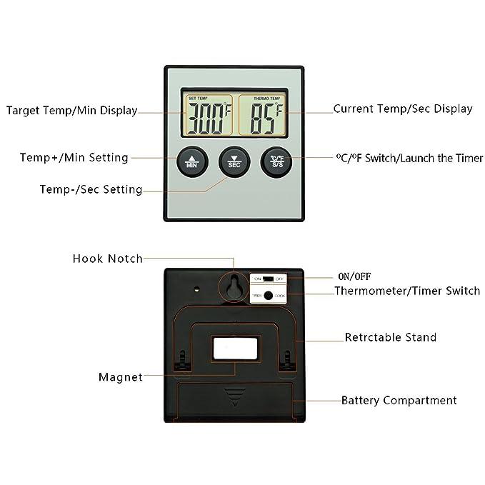 ... Digital Carne con Temporizador Alarma y Pantalla LCD Termómetro para Cocinar a la Parrilla Hornear BBQ Barbacoa Horno Fumador: Amazon.es: Hogar