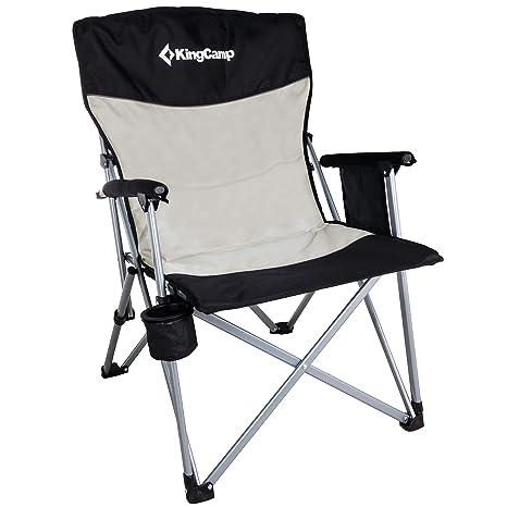 KingCamp Silla de Camping Plegable y Transpirable con Soporte para Taza y Bolsillo