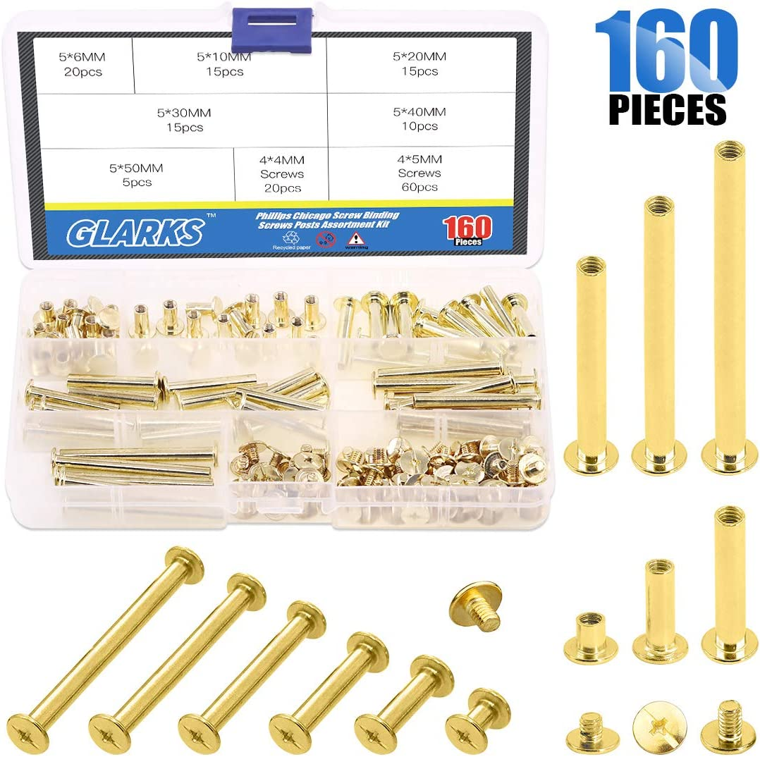 100 pcs Chicago Screws 5mm Book Binding Screws for DIY Leather Decoration Bookbinding 5mm
