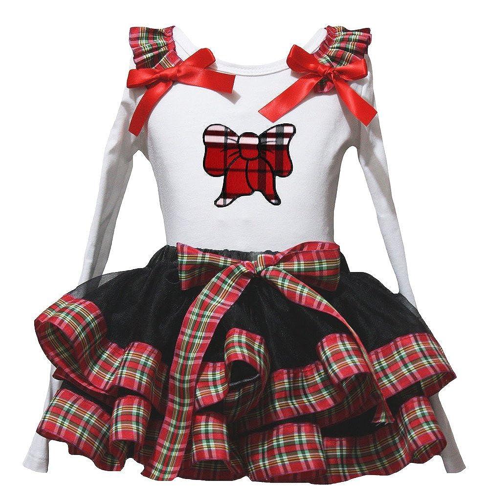 Petitebella Red Checkered Bow White L//s Shirt Ribbon Black Petal Skirt Set Nb-8y