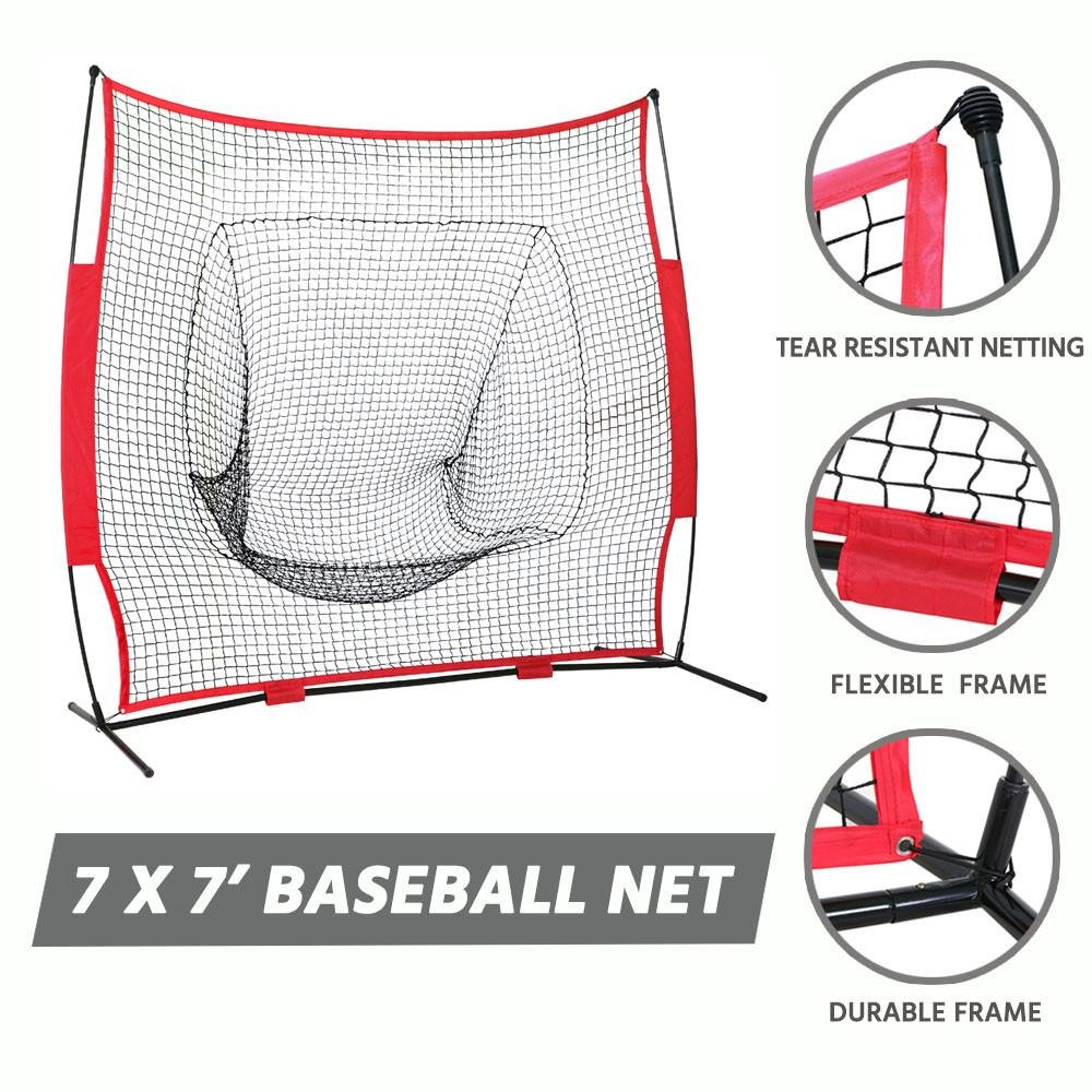 Yaheetech 7 7 Baseball Softball Practice Net with Metal Bow Frame and Carry Bag, Hitting Batting Catching Pitching Training Net