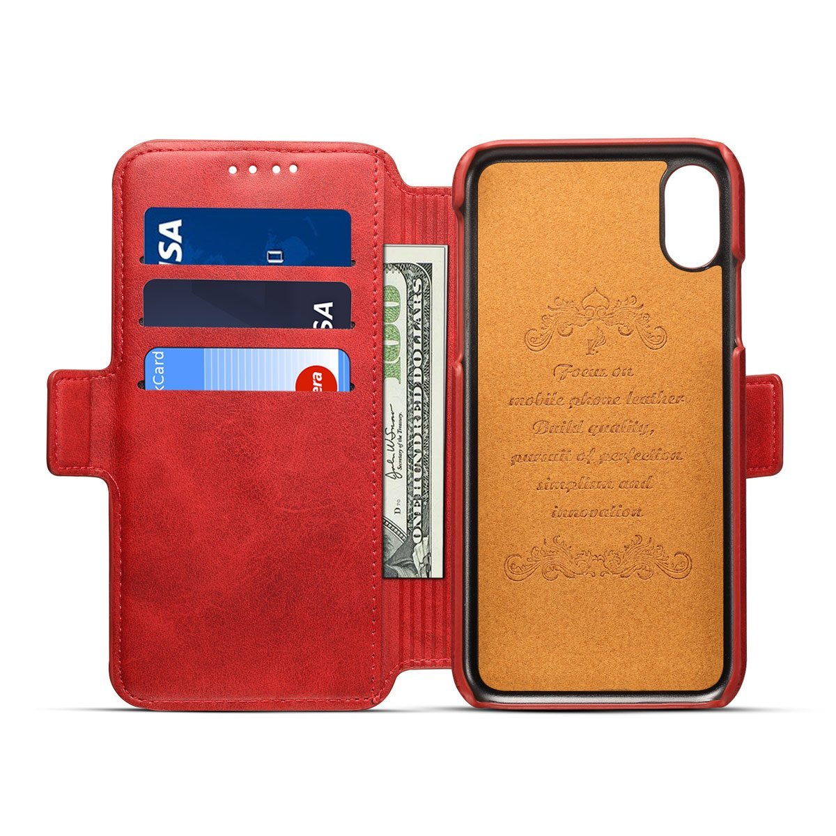Scheam iPhone X Flip Cover, Case, Skins Card Slot [Stand Feature] Leather Wallet Case Vintage Book Style Magnetic Protective Cover Holder for iPhone X - Red by Scheam (Image #5)