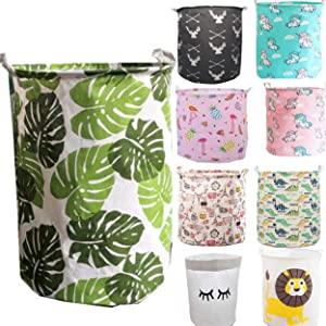 Unibedding Large Laundry Hampers Storage Basket, Lightweight Canvas Round Gift Bins for Kids, Baby Toys, Clothing Laundry with Handles,Green Leaf