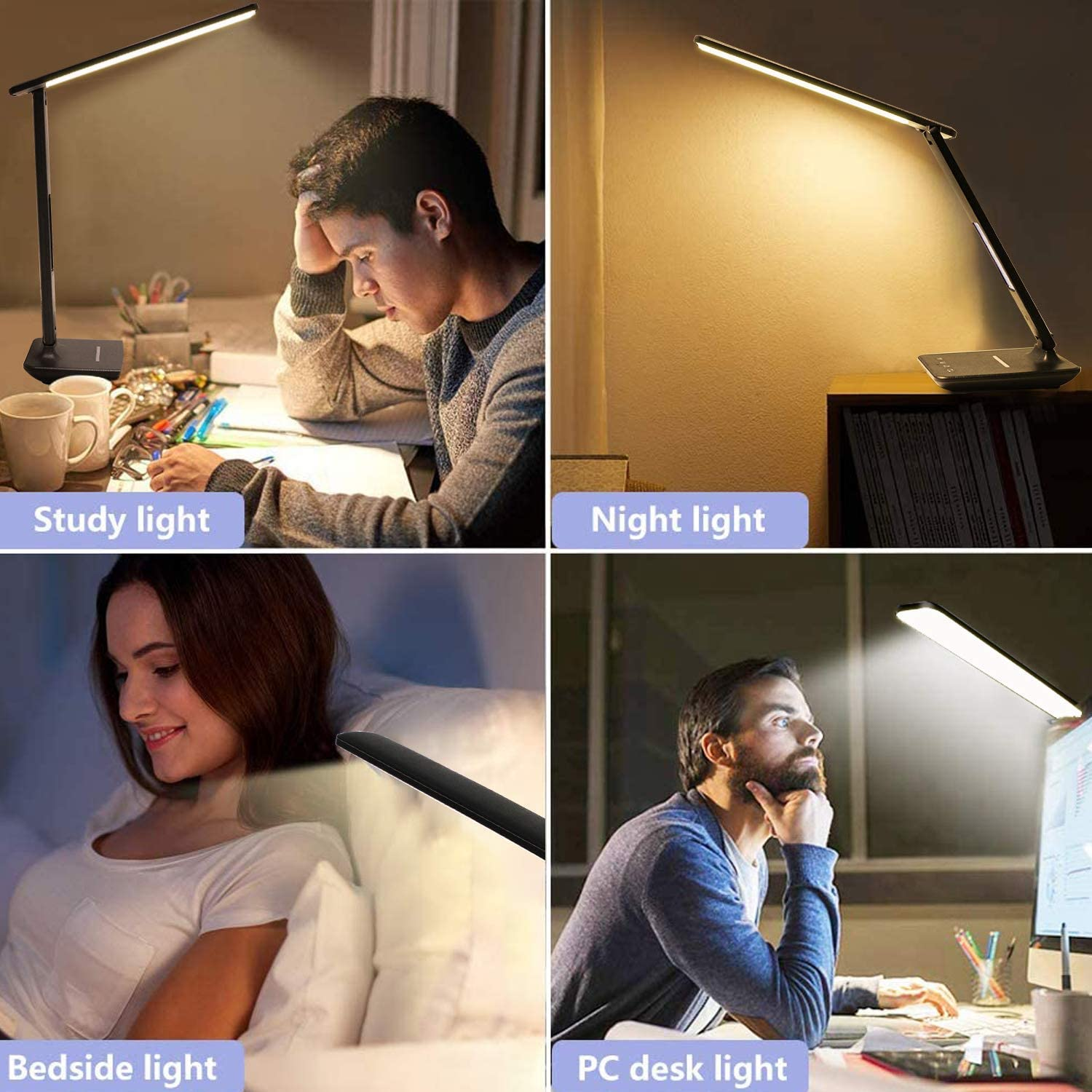 Desk Lamp Date 5 Levels of Dimmable Lighting Foldable Table Lamp with Clock USB Charging Port Office Lamp with Adapter Adjustable Temperature LED Desk Lamp with Wireless Charger Alarm