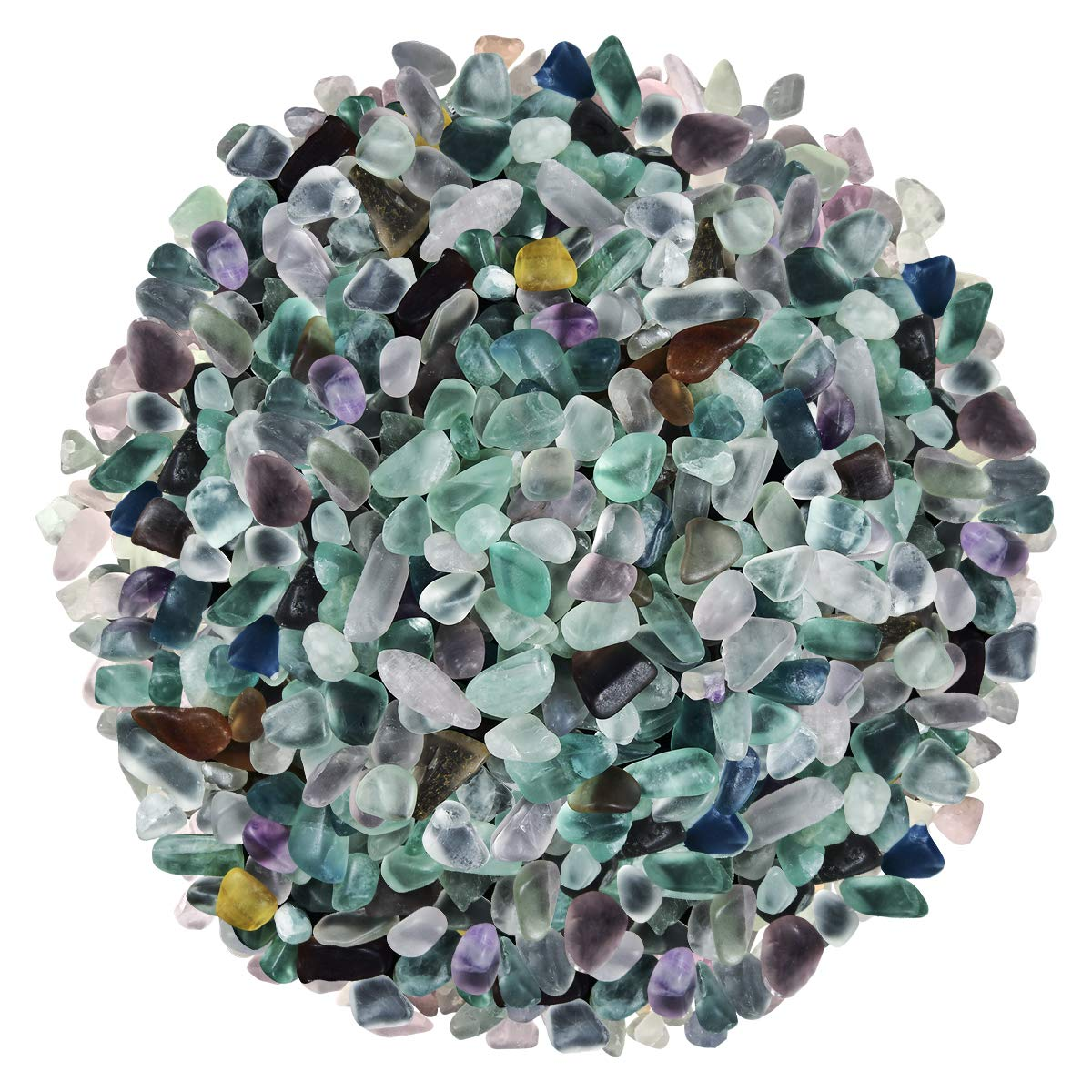 Natural Mix Color Undrilled Fluorite Polished Gravel Stone Irregular Shaped Rocks for Fish Aquariums & Tank Decorations|Substrate for Air Plants|Vase Fillers|DIY Jewelry|Wish Bottles Fillers|410 Grams by Mimosa