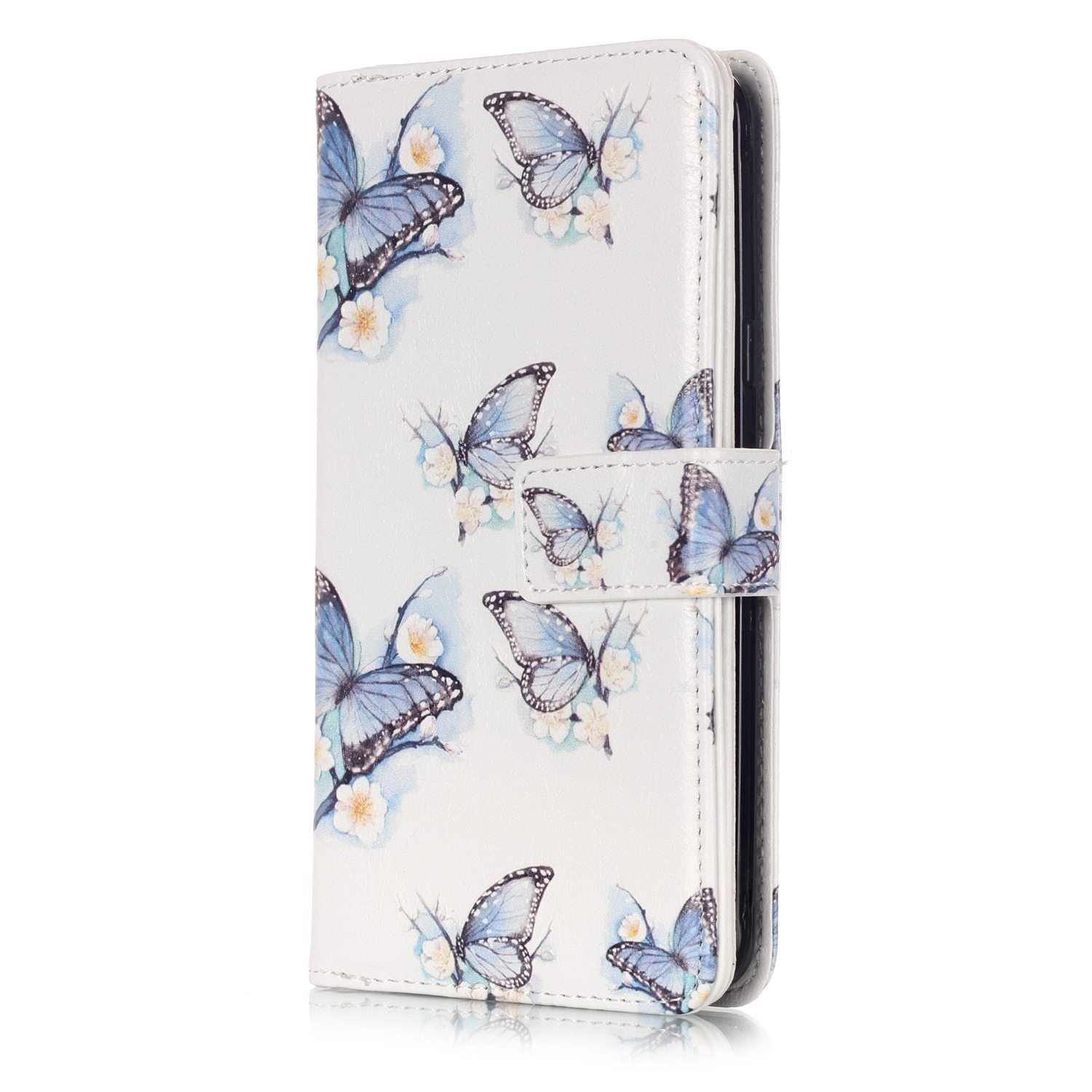 JuSha for Apply to Samsung Galaxy J5 2016 J510 Edge Case PU Leather Wallet Magnetic Cover Skin(Butterfly Mobile Phone Case)