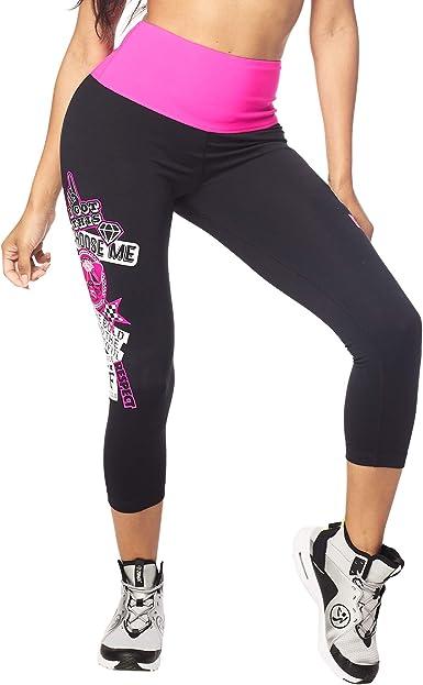 Zumba Aktiv Fitness Kompression Capri-Leggings Stilvoll Sporthose Damen mit Print Bold Black A L