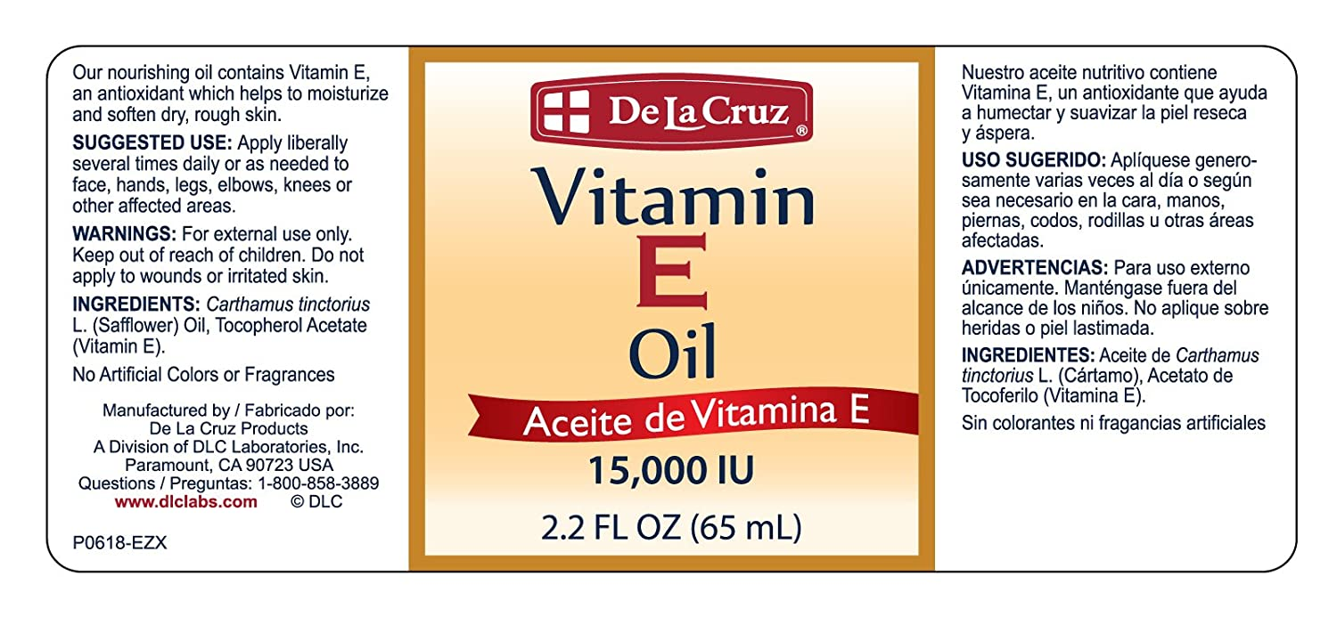 De La Cruz Vitamin E Oil 15,000 IU, No Preservatives, Artificial Colors, Fragrances, Made in USA 2.2...