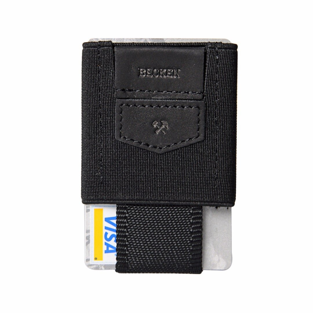 Becken Slim Leather and Elastic Minimalist Wallet ID and Credit Card Holder - Holds up to 10 Cards