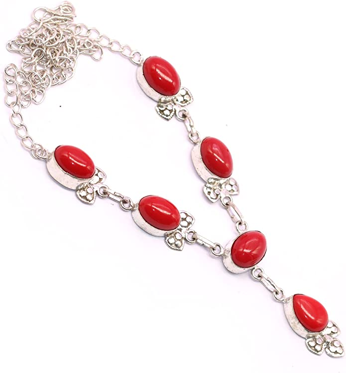 Vedika Overseas .925 Sterling Silver Overlay Red Coral Fashion Necklace For Womens /& Girls